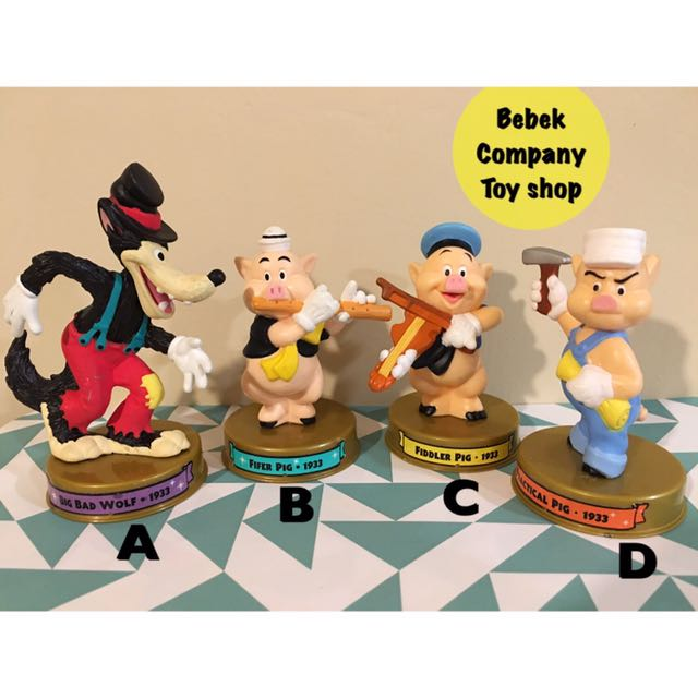 2002 美國二手玩具 Disney 100週年 McDonald's 麥當勞玩具 迪士尼 三隻小豬 大野狼 絕版玩具