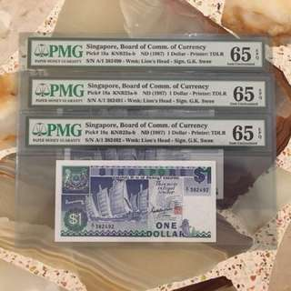 Fixed Price - Singapore Ship Series $1 Paper Banknote A/1 First Prefix 3 Runs PMG 65 EPQ - $68 Each