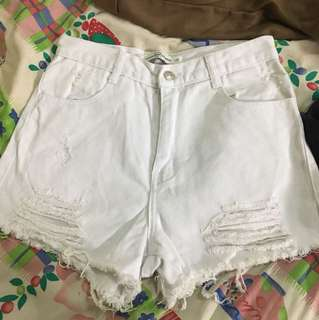 🚚 歐美版白色刷破短褲