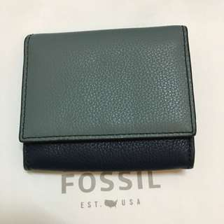 Fossil leather blue mini wallet