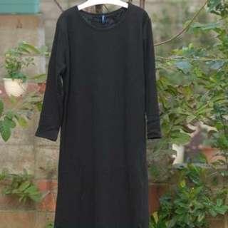 🚚 韓系彩色線棉質長洋裝/長版上衣--黑