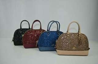 Coach F22891 Micro Mini Sierra Star Glitter Platinum Gold Satchel Crossbody Bag