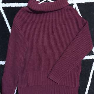 Burgundy Roll Neck Chunky Knit