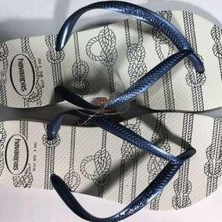 havaianas 哈瓦仕 白底珠光藍帶拖鞋 EUR37-38