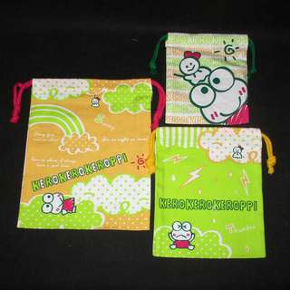 Sanrio 日本正版 Keroppi 青蛙仔 索繩袋 束口袋 布袋 Set