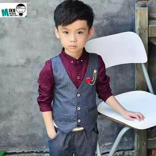 Boys Formal Gentleman Coat & Pants Set - Size 140