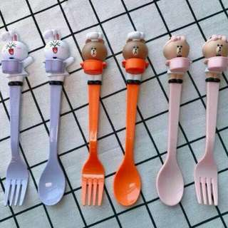 7 11 Line Friends 1 set 3 pcs Cutlery