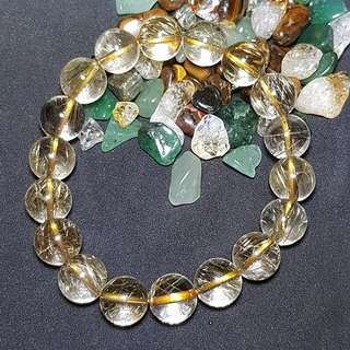 Super Clear Rutilated Quartz Crystal Beads Bracelet diameter 12mm  发晶钛晶珠手镯