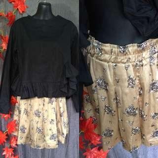Uniqlo skirt/korean top set size med-large