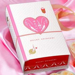 日本 著名富山灣的富山產 數量限定情人節心型白蝦餅。一盒8包,每包2片