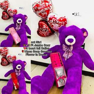 Package SALE Set💕 3in1 2600 ONLY  4.5Ft Teddybear 3Heart Baloon  18pcs Scented Soap Bouquet 💕