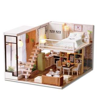 GIFTIDEA Dollhouse Miniature with Furniture, DIY Wooden DollHouse Kit Plus Dust Proof and Music Movement, 1:24 Scale Creative Room for Valentine's Day Gift Idea (waiting for time)