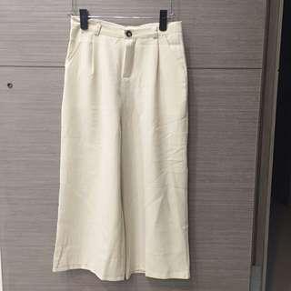 杏色直筒寬褲