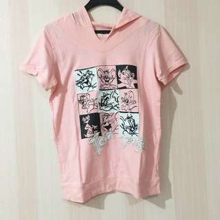 Pink Tom And Jerry Cartoon T Shirt With Hoodie