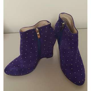 Wittner Purple Studded Wedges Boots Heels Heeled - size 6 6.5 37
