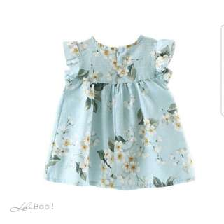 Girls Florals Petal Sleeve Summer Dress - AQUA