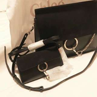CHLOE Faye mini crossbody bag / Wallet On Strap in Black (Original Price $5850)