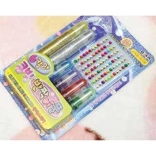韓國版 - 閃閃膠水筆及閃石貼子套裝 DECO 裝飾用 美勞 勞作 功課