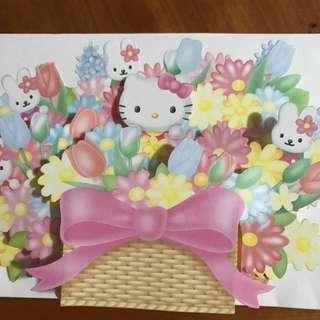 Hello Kitty 3D 花籃萬用卡