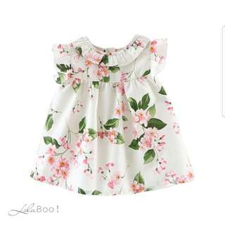 Girls Florals Petal Sleeve Summer Dress - WHITE