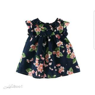 Summer Florals Petal Sleeve Dress - Midnight Blue