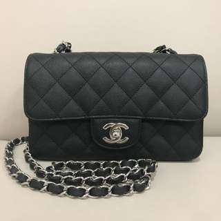 Chanel A69900 Classic 黑荔枝皮銀鏈 20cm手袋
