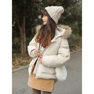 毛毛領保暖夾棉外套