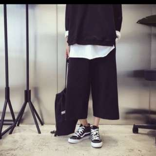 Korean black culottes