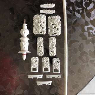 3D hand carved bone dragon design shama cage fittings set