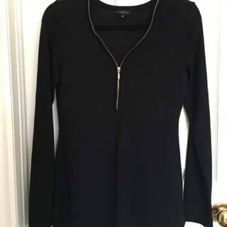 Dynamite Zip-Front Sweater Top | Black M