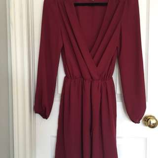 M Boutique Wrap Dress | Burgundy S