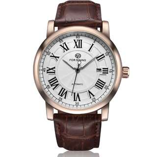 Forsining Men's Automatic Watches Luxury Brand Male Business Dress Watch Vintage Roman numerals Dial Genuine Leather Band