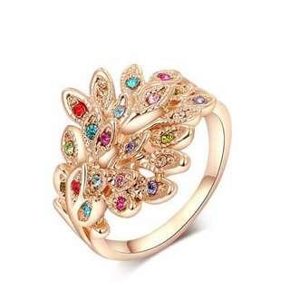 水晶玫瑰金彩鉆孔雀戒指/Crystal Rose gold peacock ring