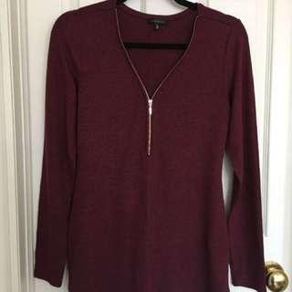 Dynamite Zip-Front Sweater Top | Burgundy M