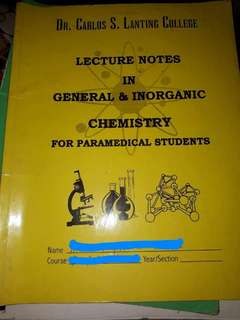Lecture Notes in General & Inorganic Chemistry for Paramedical Students