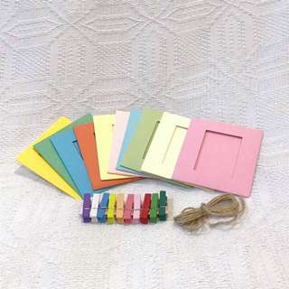 Instax Paper Photo Frames with Clips/Pins and String