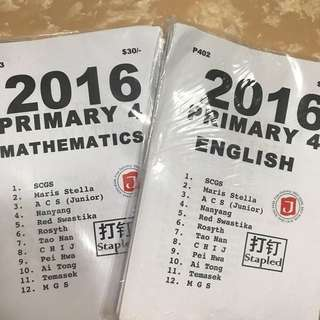 P4 CA1 and SA1 English, Maths, Chinese & Science papers 2016