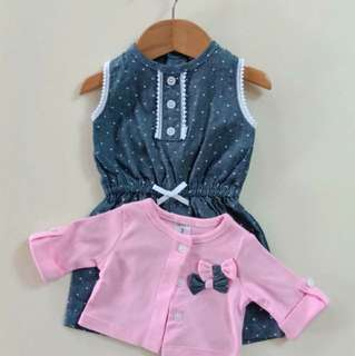 Denim Polka dots with cardigan set