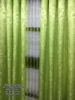 Elegant curtain size : 60*85 inches 2 brocade 1 kilo 1 laced
