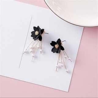 korean rose flower earrings 韓國耳環