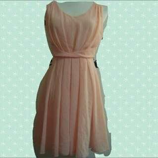 👚無袖氣質粉橘色雪紡洋裝