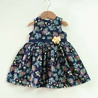 Floral Printed Girl Dress with Bloomer