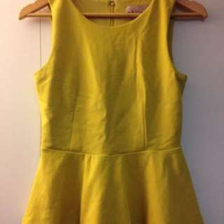 EUC - Philosophy Republic Clothing - Mustard Yellow Peplum Tank Top Size XS