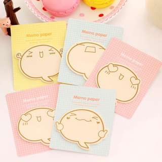 Kawaii Emotion Memo Paper. Sticky Note Memo Pad. 3 in a set