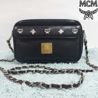 Original MCM leather chained slingbag