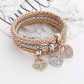 Korea: Tri-Colour Bracelet - Hearts