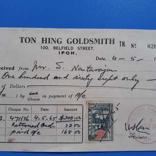 MALAYSIA - 1965 - TON HING GOLDSMITH BILL - IPOH - with STAMP - im31
