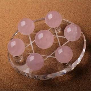 粉晶七星阵 Pink quartz crystal 7 formation (增加人缘、健康等Improves relationship and better health)
