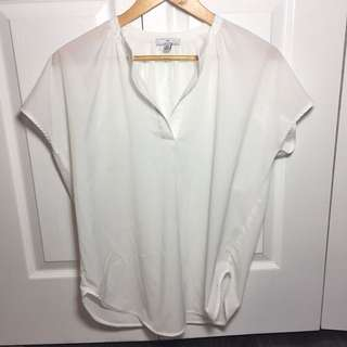 Halston Heritage White Loose Fit Sheer Top S