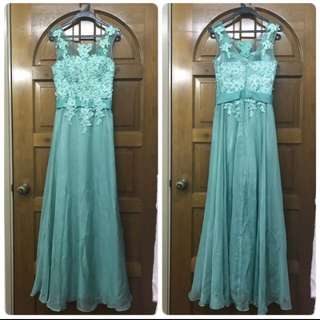 Turquoise Lace Gown